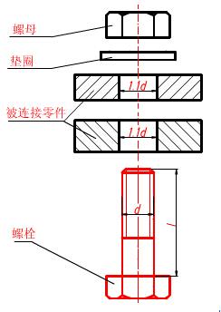 外六角螺栓的计算和画法