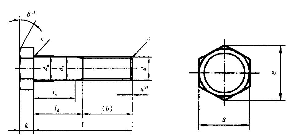 热镀锌六角螺栓结构图
